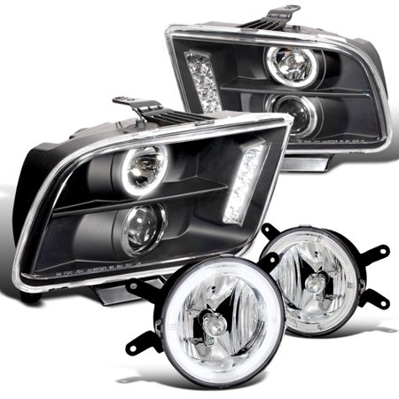 09 Mustang - Spec-D Tuning 2005-2009 Ford Mustang Led Pro Headlight + Fog Light 2006 2007 (Left + Right) 05 06 07 08 09