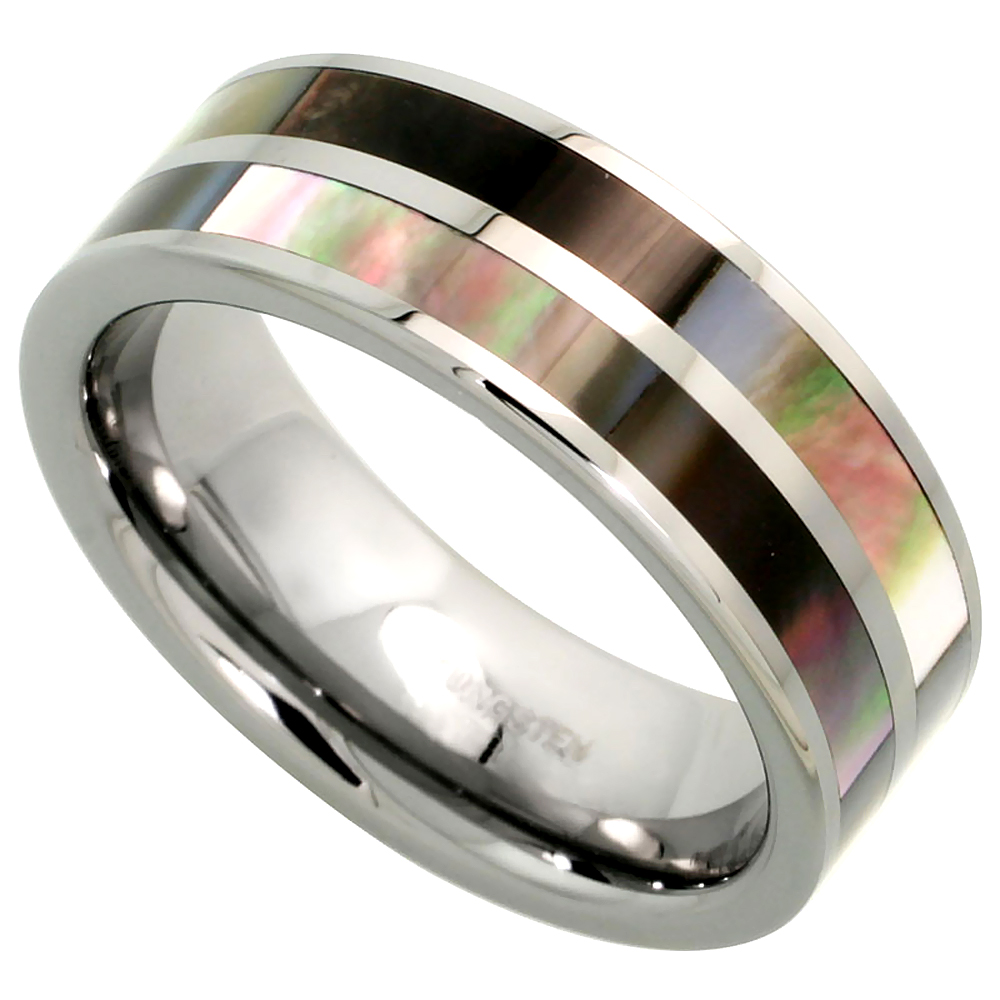 8mm Tungsten 900 Wedding Ring Mother of Pearl Inlay Stripes Comfort fit, sizes 7 - 14