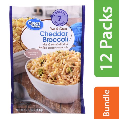 (11 Pack) Great Value Cheddar Broccoli Rice & Sauce, 5.7 oz