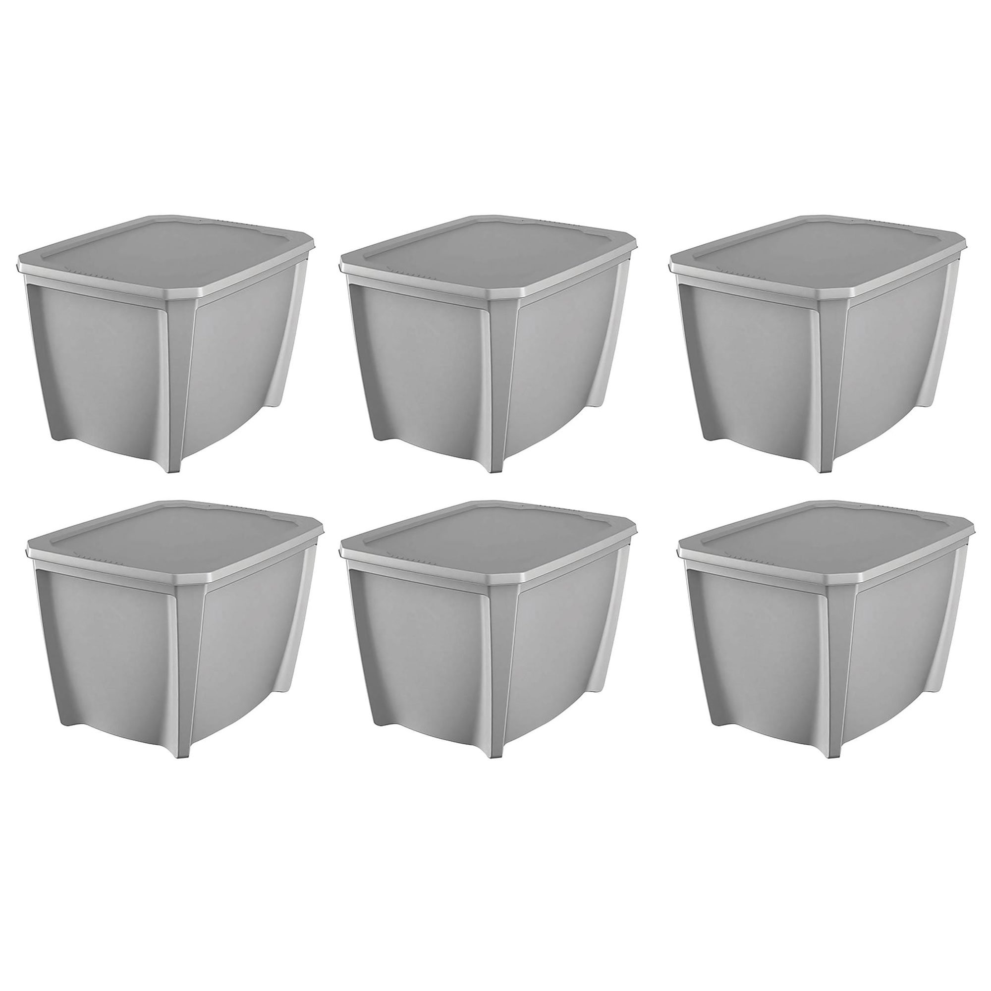 Life Story Gray Stackable Organization Storage Box, 32 Gallons (6 Pack)