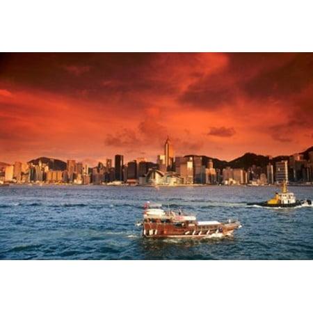 Hong Kong Harbor at Sunset Hong Kong China Canvas Art - Bill Bachmann  DanitaDelimont (18 x 12)