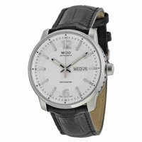 Mido Great Wall Automatic Silver Dial Black Leather Mens Watch