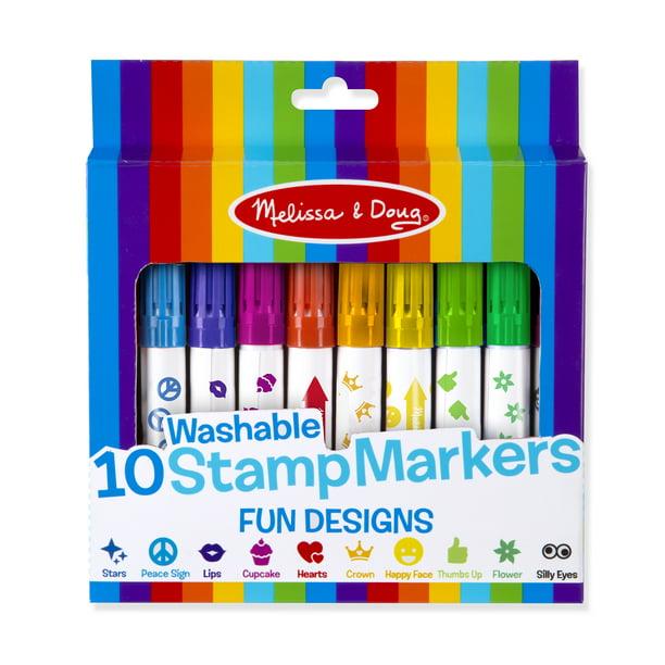 Melissa Doug 10 Washable Stamp Markers Fun Designs Walmart Com Walmart Com