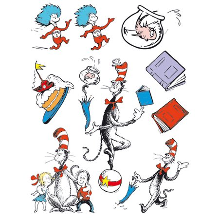 CAT IN THE HAT CHARACTERS 12 X 17 WINDOW CLINGS - Snowflake Window Clings