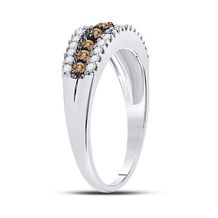 10kt White Gold Womens Round Cognac-brown Color Enhanced Diamond Triple Row Band Ring 1/2 Cttw - image 3 de 4