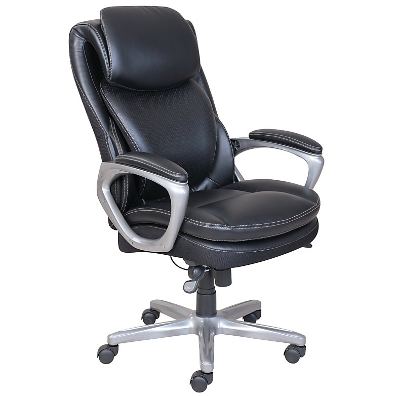 Serta Smart Layers Air Arlington Executive Chair, Black/Pewter by Serta