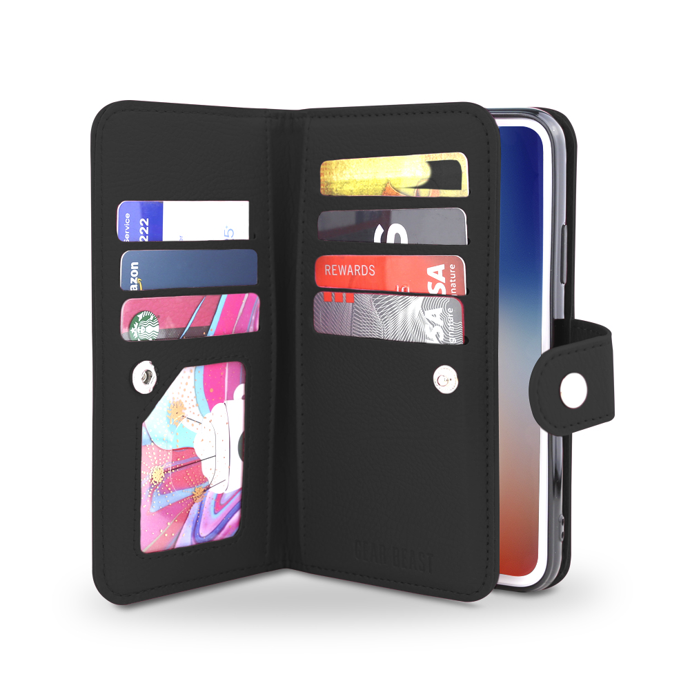 Gear Beast iPhone X Wallet Case, Flip Cover Dual Folio Case Slim Protective PU Leather Case 7 Slot Card Holder Including ID Holder Inner Pockets Wristlet For Men and Women with Bonus Screen Protector
