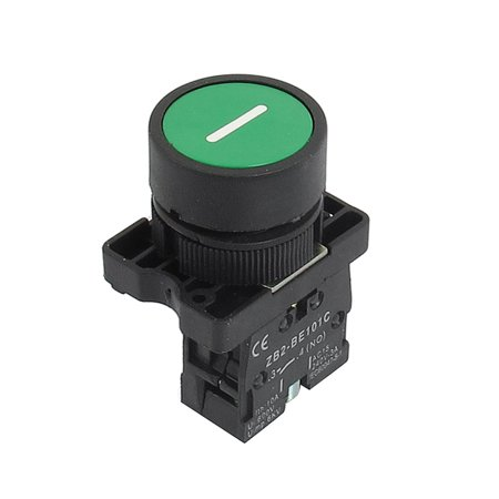 Unique Bargains ZB2-EA3311 NO Normally Open Green Sign Momentary Push Button Switch 22mm