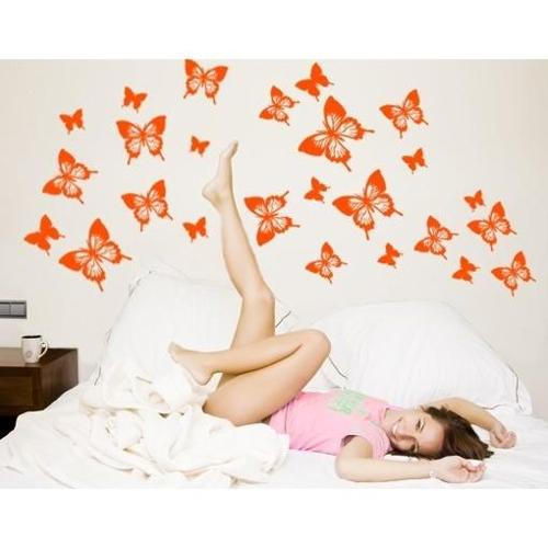 Butterflies Wall Decal Vinyl Art Home Decor Yellow 24in x 17in