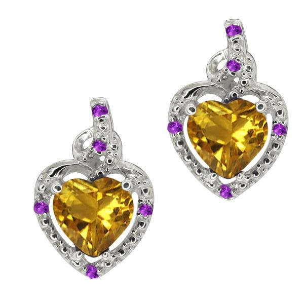 1.50 Ct Heart Shape Yellow Citrine Purple Amethyst 14K White Gold Earrings