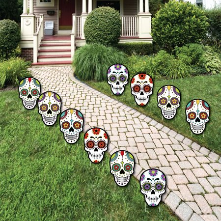 Day Of The Dead - Sugar Skull Skeleton Lawn Decorations - Outdoor ...