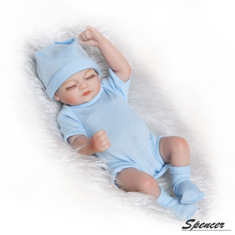"Spencer 10"" Realike Reborn Baby Doll Handmade Realistic Lifelike Silicone Vinyl Close Eyes Doll for Toddler Gifts ""Blue"""