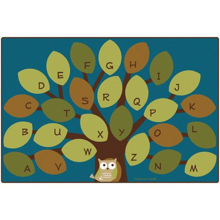 Carpets for Kids Premium Collection Owl-Phabet Tree Teal Area Rug