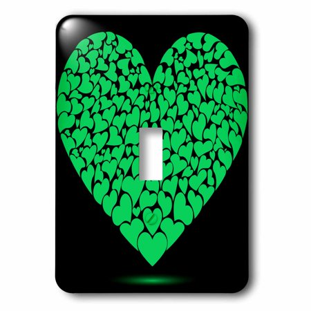 3dRose Large Green Heart Made Of Smaller Hearts, Single Toggle Switch