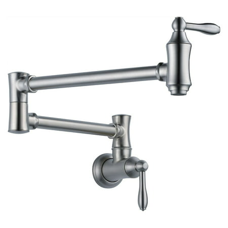- Delta Traditional Wall Mount Pot Filler, Arctic Stainless