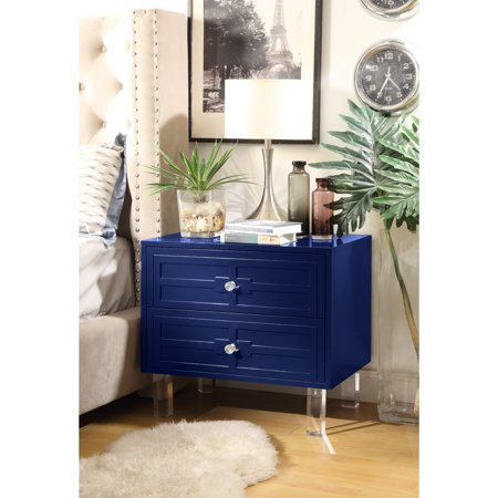 Troy Navy Blue Glossy Modern Nightstand Lacquer Finish