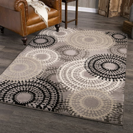 Better Homes and Gardens Taupe Ornate Circles Area Rug or Runner Circles 6' Round Area Rug