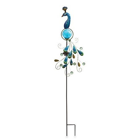 Metal and Fused Glass Peacock Solar Garden Stake, Weather-resistant with Energy Efficient LED Lights- Illuminates up to 8 hours on a full charge - Staples Holiday Hours