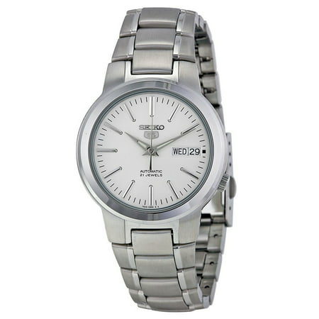 Seiko 5 SNKA01 Men's Stainless Steel White Dial Day Date Automatic (Large Automatic Steel White Dial)
