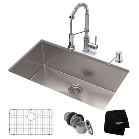 KRAUS Kitchen Set with Standart PRO™ Stainless Steel Farmhouse Kitchen Sink and Bolden™ Commercial Pull-Down Kitchen Faucet in