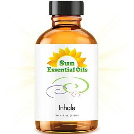 Inhale Blend Large 4 ounce Best Essential Oil Peppermint, Eucalyptus, Lemon, Tea Tree,