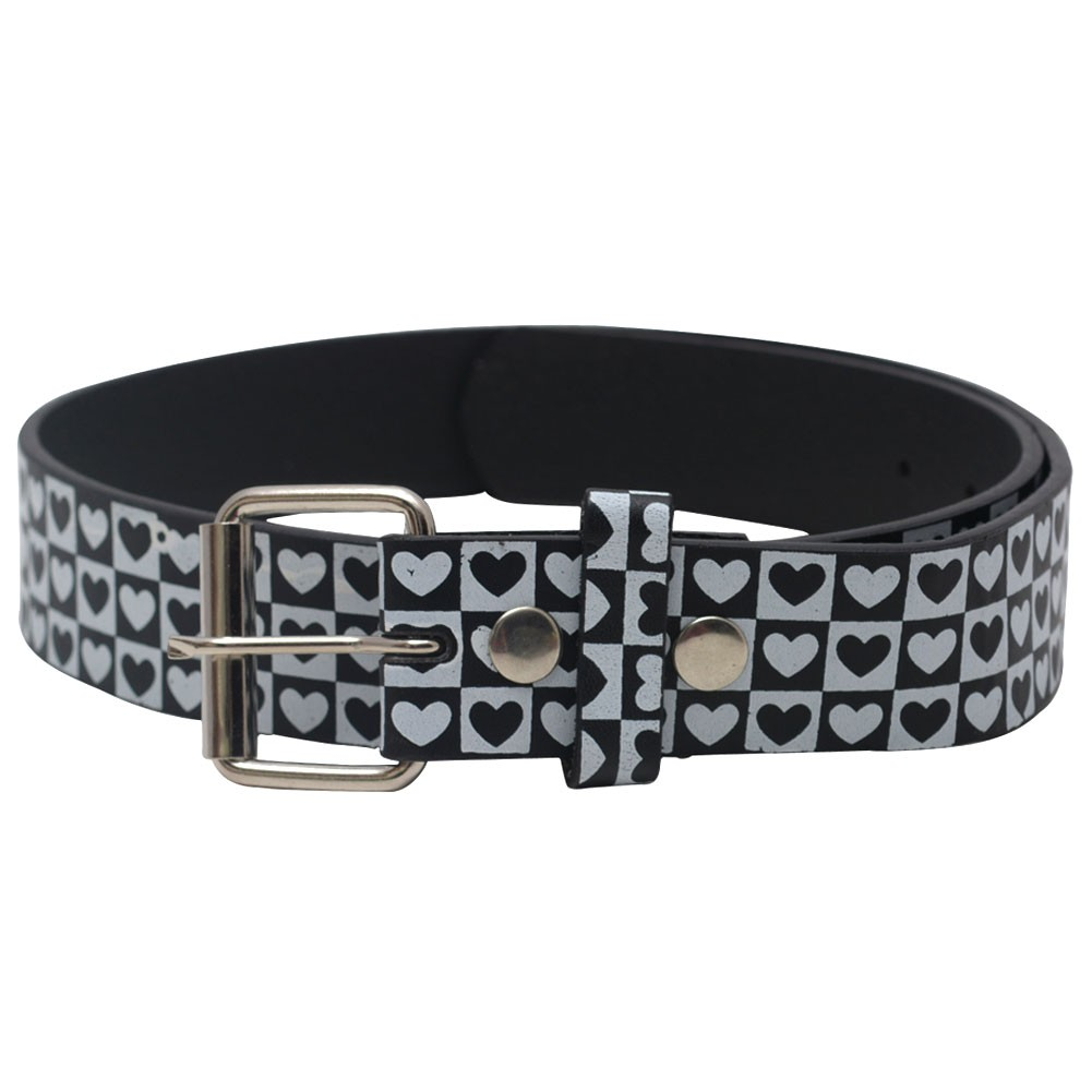 "Womens Black White Heart Pattern Single Prong Buckle Belt S-XL (30""-44"")"