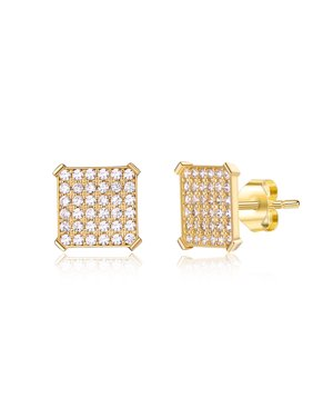 14K Yellow Gold Men's Pave Cz Earrings