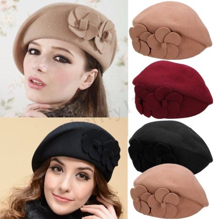 bd559ba14e5ff Betterone - Womens Flower 1920s Vintage Winter Wool Felt Cap Beret Beanie  Cloche Bucket Hat - Walmart.com