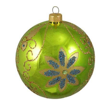 Key Lime Green Shiny Floral Shatterproof Christmas Ball ...