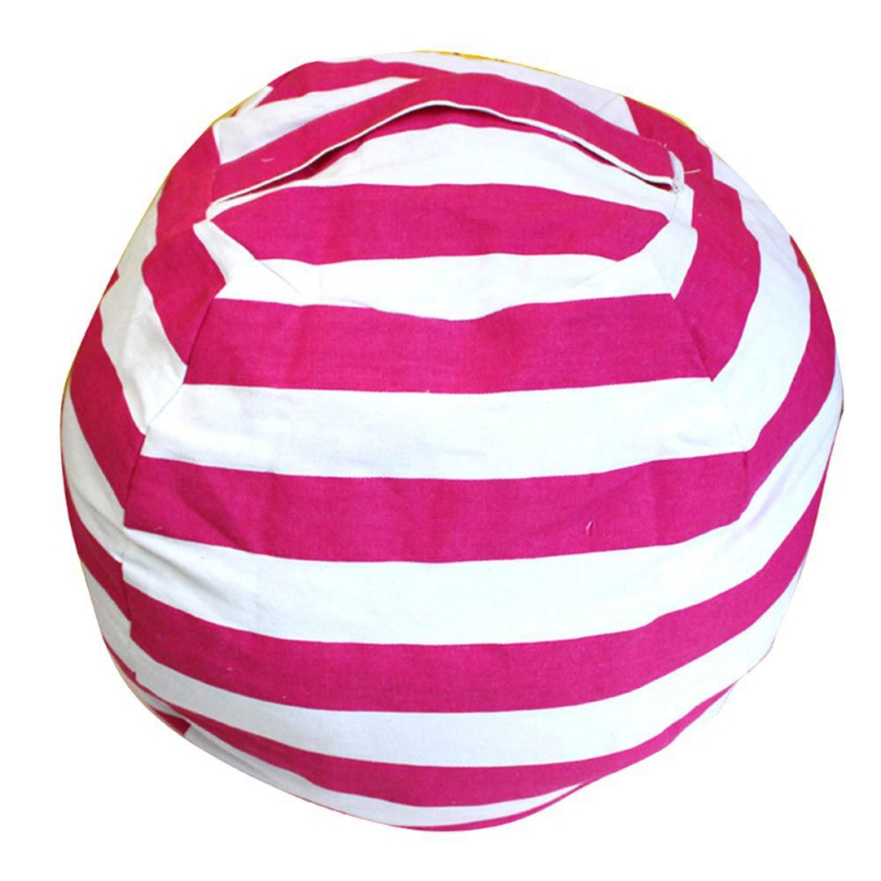 Kids Stuffed Animal Toy Cotton Bean Bag Storage Pouch Soft Stripe Fabric Chair