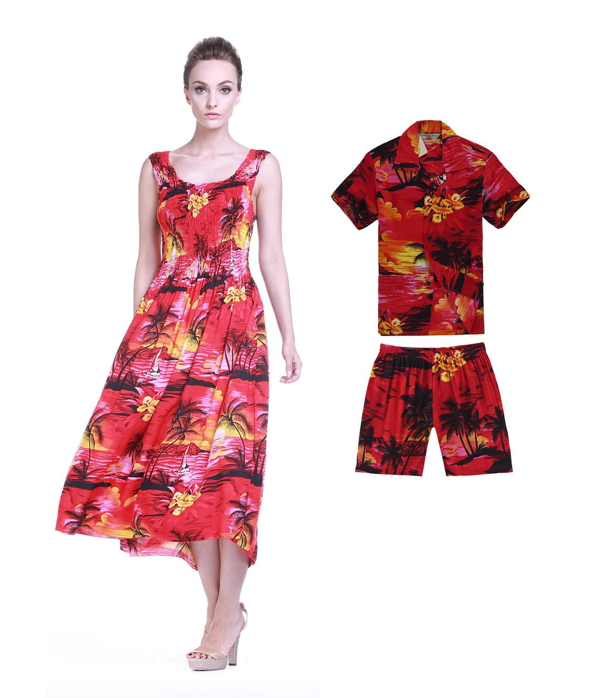 Hawaii Hangover - Matching Mother Son Hawaiian Luau Outfit Maxi Tank Plus  Size Dress Shirt in Red Sunset Women Boy 4 - Walmart.com