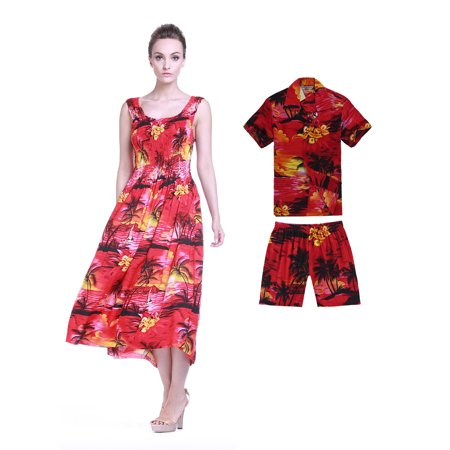 Matching Mother Son Hawaiian Luau Outfit Maxi Tank Plus Size Dress Shirt in  Red Sunset Women Boy 14