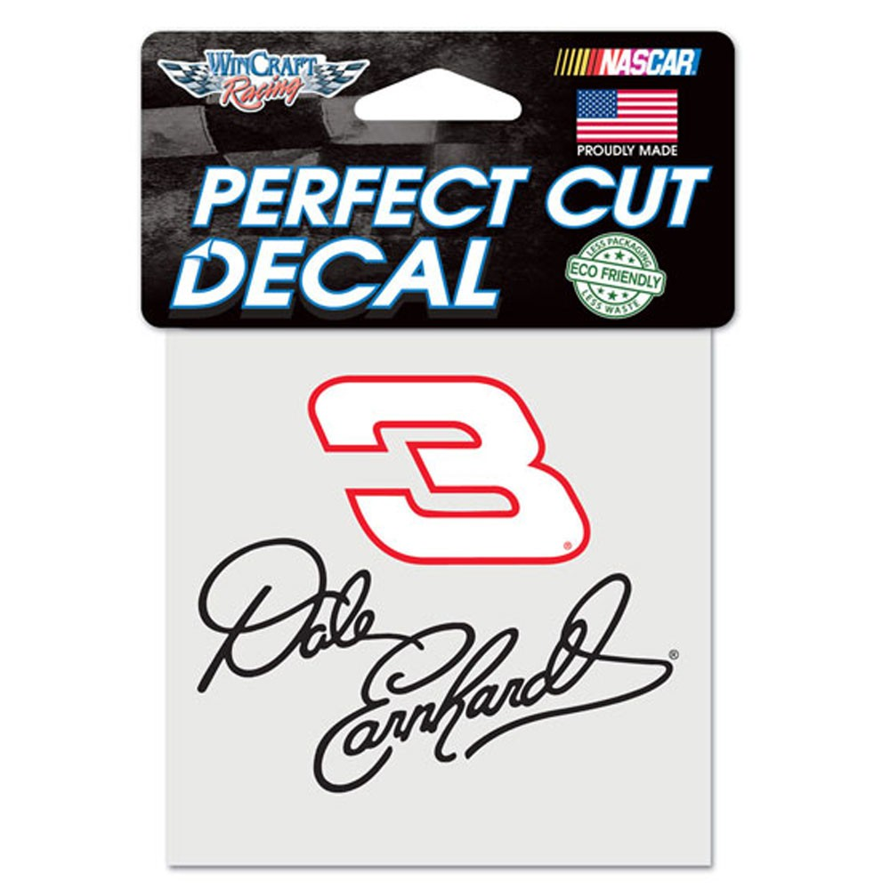 Dale Earnhardt Sr. Official NASCAR 4 inch x 4 inch  Die Cut Car Decal by Wincraft