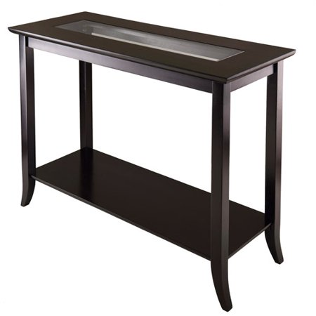 Genoa Square Hall Table With Glass Top  Espresso