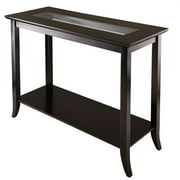 Genoa Square Hall Table with Glass Top, Espresso