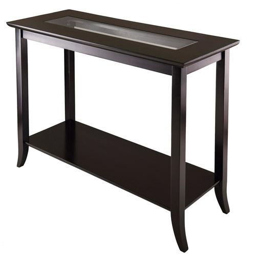Winsome Wood Genoa Console Glass Top Table, Espresso Finish