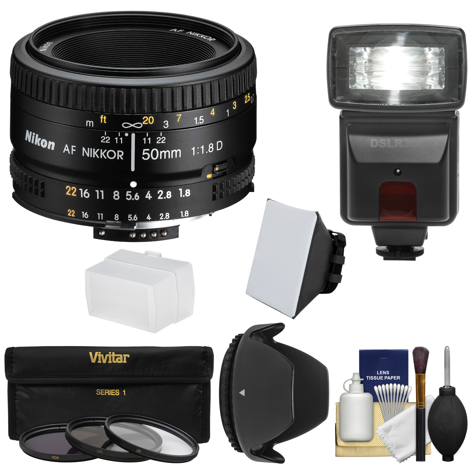 Nikon 50mm f/1.8D AF Nikkor Lens with 3 Filters + Hood + ...