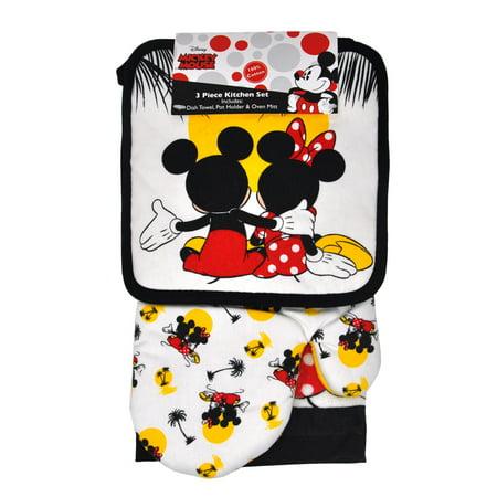 Mickey & Minnie Mouse 3pc Kitchen Set Oven Mitt Pot Holder Dish Towel Sunset Kitchen Towels Mitt