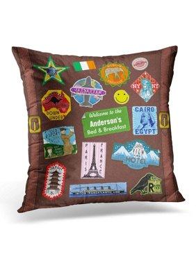 BPBOP Retro Adventurer World Travel Vintage Luggage Sticker Suitcase Brown Custom Pillowcase Cushion Cover 16x16 inches