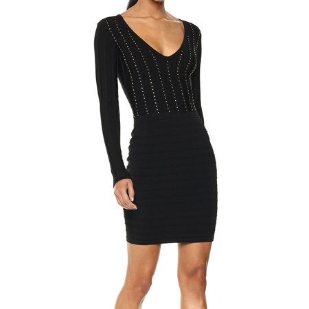 ace852ea156 Guess - Guess NEW Black Womens Size 0 Studded V-Neck Bandage Sweater Dress  - Walmart.com