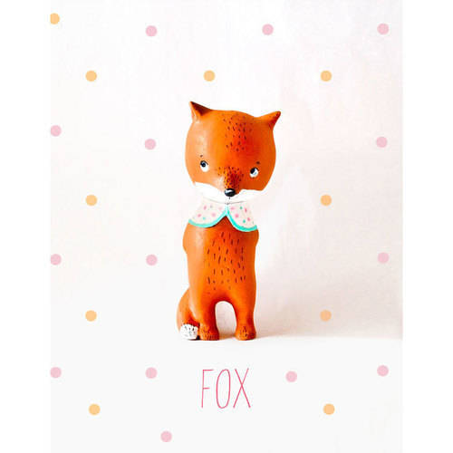 Oopsy Daisy - Paper Mache - Fox - Girl Canvas Wall Art 14x18, Paola Zakimi