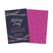 Personalized Colorful Streamers Birthday Party Invitations