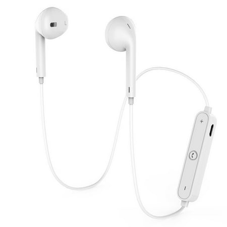 Bluetooth Headphones S6 Wireless Earbuds Apple Style Earphones AptX HiFi Stereo Headset with Microphone, Sport Ear-hook for Running for iPhone, Samsung, Sony(White)