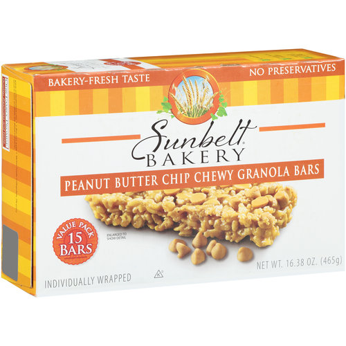 Sunbelt Chewy Peanut Butter Chip Granola Bars, 15 ct, 16.38 oz