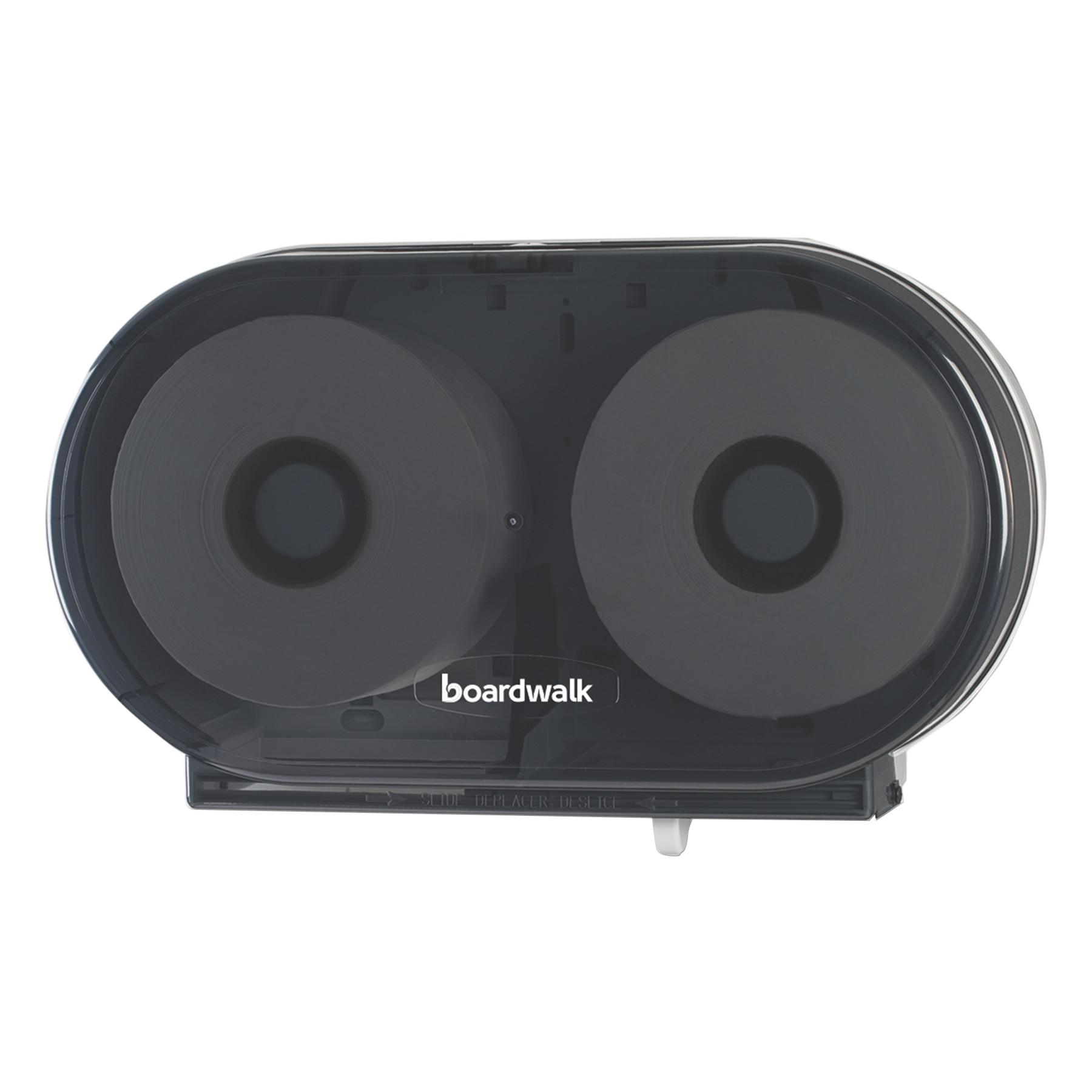 Boardwalk Jumbo Twin Toilet Tissue Dispenser, Smoke Black, 5.938 x 22.437 x 13 7/8 -BWKJT210SBBW