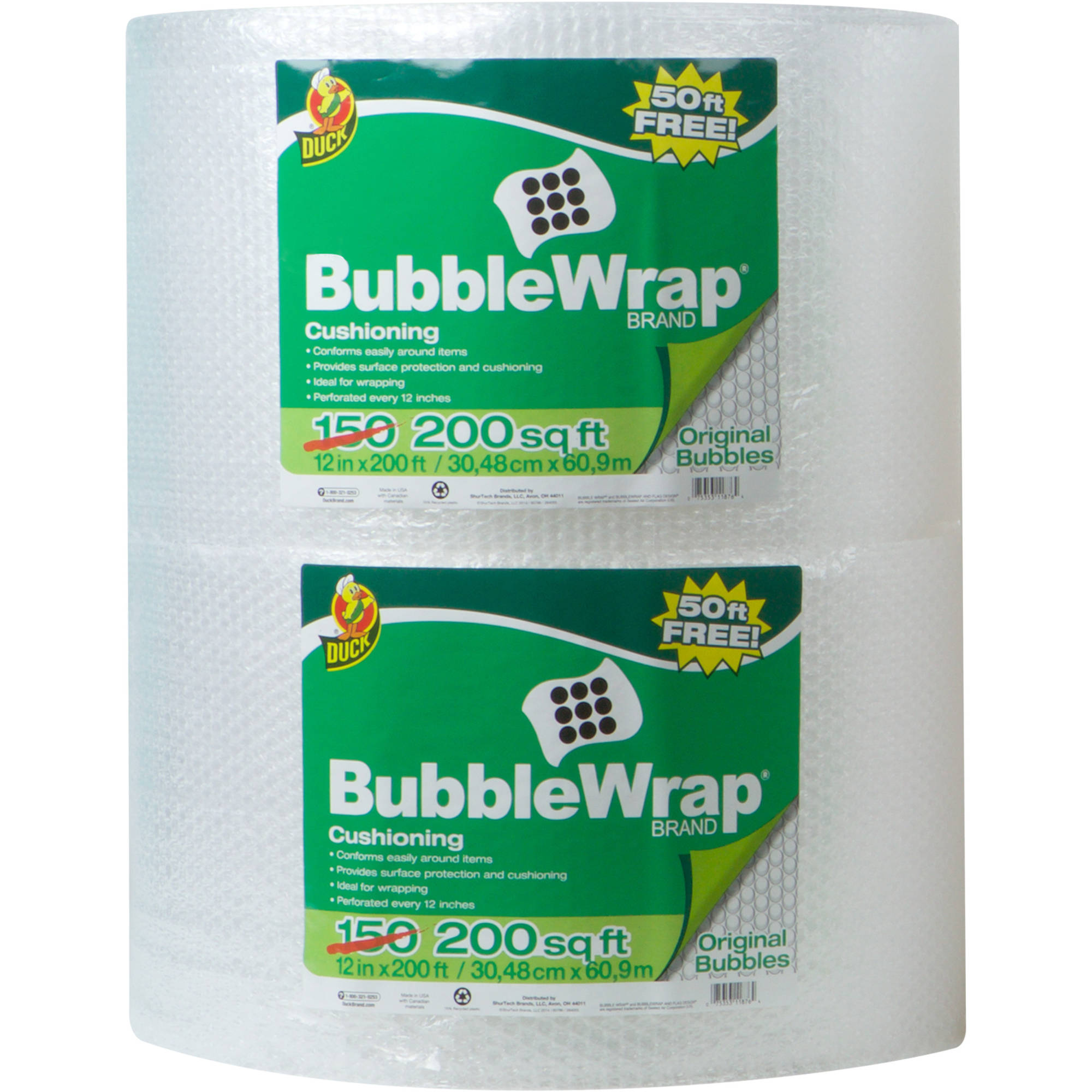 "Duck Brand Original Bubble Wrap, 12"" x 400'"