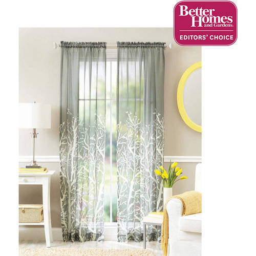 Better Homes and Gardens Arbor Springs Semi-Sheer Window Panel, Charcoal