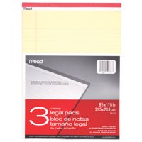 """Mead Legal Ruled Note Pad, 8.5"""" x 11"""", Canary Yellow, 3 Pack (59386)"""