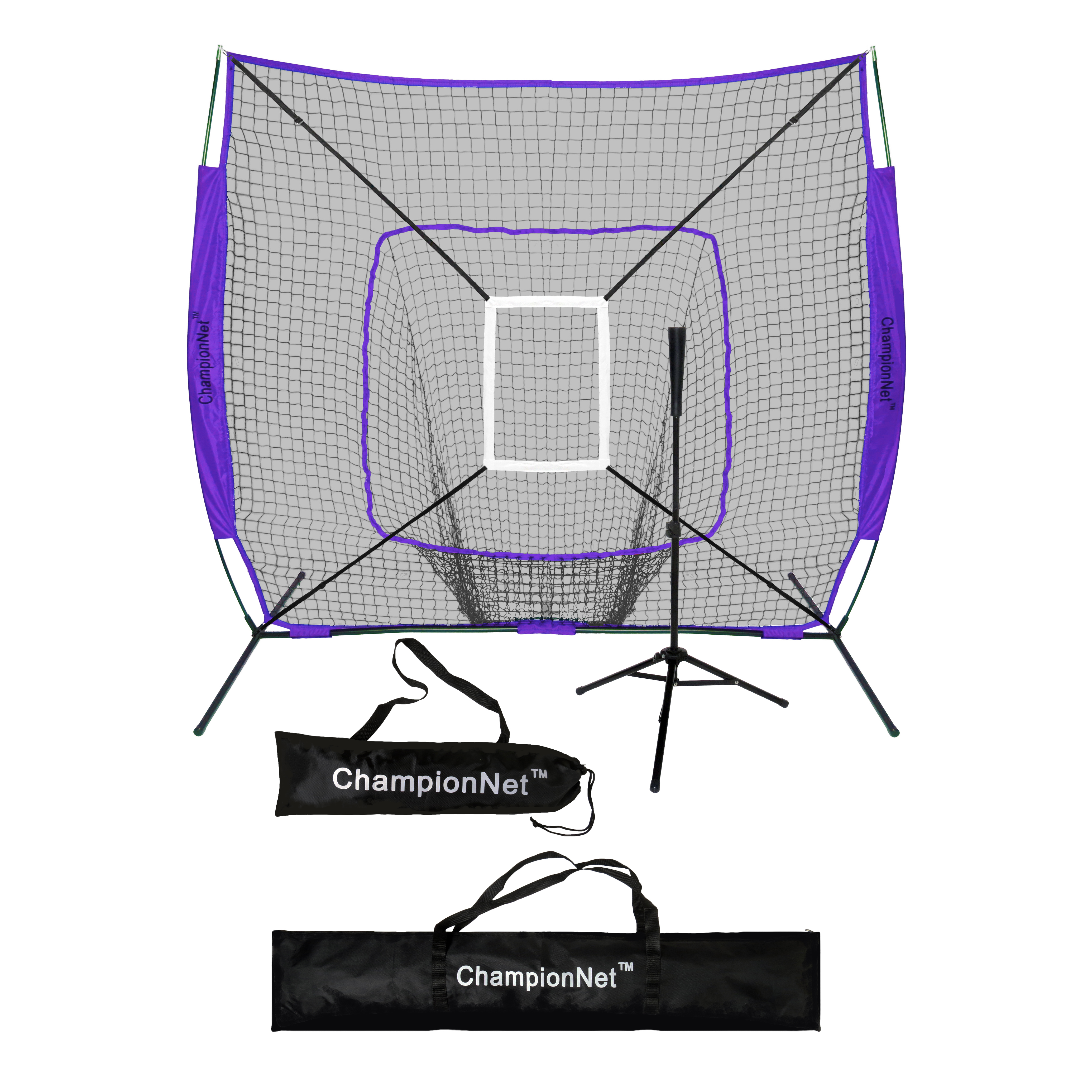 ChampionNet 7x7 Baseball/Softball Training Hitting Net & Frame Power Bow Style Net w/ Carry Bag + Batting Tee + Strike Zone Target Attachment - PURPLE