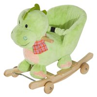 Kids Interactive 2-in-1 Plush Ride-On Stroller Rocking Dinosaur With 32 Songs and Rhymes